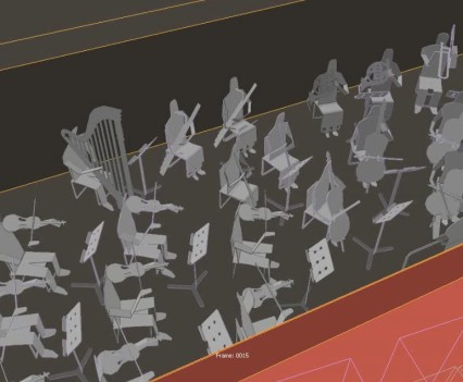 Still frame from the orchestra test animation